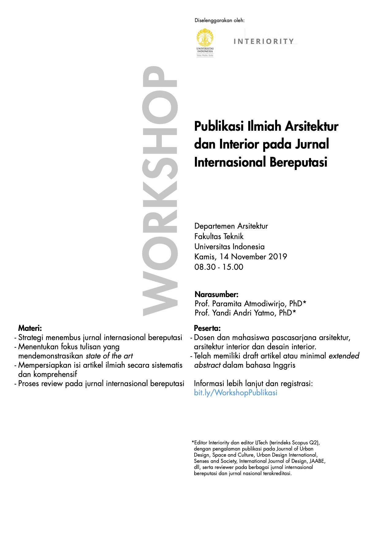 Workshop Publikasi Ilmiah Arsitektur Dan Interior Pada Jurnal Internasional Bereputasi
